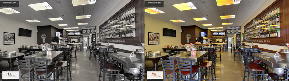 Take a virtual tour of the Pizza Brew restaurant in Calgary owned by Minhas Micro Brewery