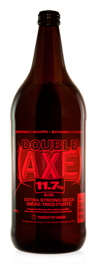 Double Axe Extra Strong Beer - Malt Liquor brewed in Calgary by Minhas Brewery
