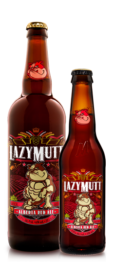Lazy Mutt Alberta Red Ale brewed in Calgary by Minhas Brewery