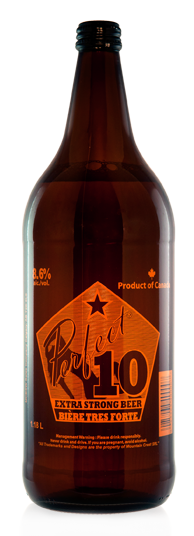 Perfect 10 Extra Strong Beer - Malt Liquor brewed in Calgary by Minhas Brewery